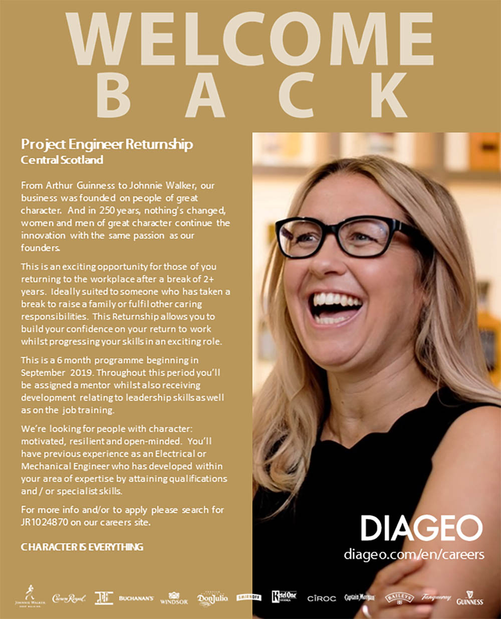 Diageo women career returners - part time flexible work jobs