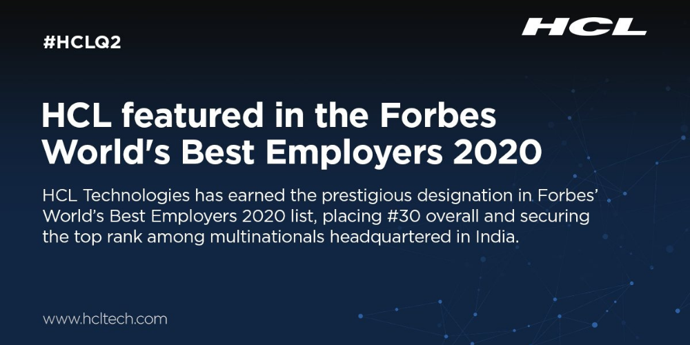 HCL Technologies is in the Forbes World's Best Employers list