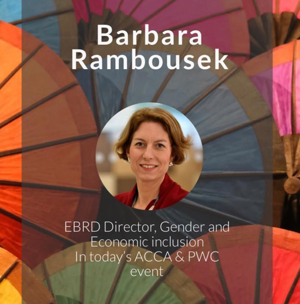 Barbara Rambousek discusses gender equality at EBRD event